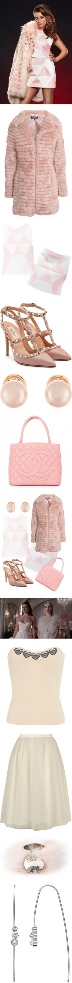 Chanel #6 by kristyxklein on Polyvore featuring women's fashion, outerwear, coats, fur, jackets, faux fur coats, pink faux fur coat, pale pink coat, pink coat and long sleeve coat