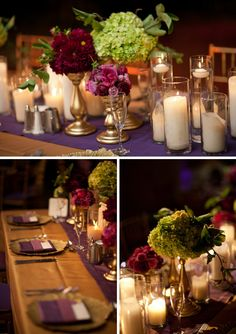 Here we go! Gold, purple and candle treatment in the ballroom.  Wedding Planning & Design by A Bride's Best Friend.  - awesome design.