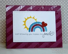 Rainbow card, Translucent embossing paste background - Sweet n Spiffy