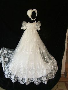 Lauren Rose  white Christening gown set with  by angelawesthgowns, $358.00.... This would be gorgeous on my nikoleta :)) it's beautiful.