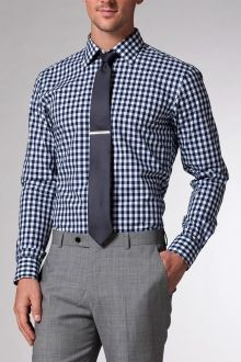 Navy Gingham Shirt | Indochino with grey suit