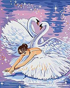 Ballet Fairy Girl with Wings of Swans DIY Oil Painting Home DecorChildrens Paint by Number kit Art Game for Adults Kids Childhood Development Digital Canvas Oil Painting Inch Unframed ** Continue to the product at the image link. Painting For Kids, Oil Painting On Canvas, Diy Painting, Ballet Painting, Ballet Art, Ballet Drawings, Free Cross Stitch Charts, Paint By Number Kits, Nicu