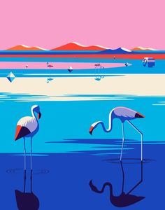 """Illustrations for Kuoni by Malika Favre """"Series of travel illustrations for Kuoni France 2016 brochure, art direction by Altavia."""" Malika Favre is a French artist based in London. Her bold, minimal style – often described as Pop Art meets OpArt Art And Illustration, Illustrations And Posters, Flamingo Illustration, Arte Pop, Malika Fabre, City Poster, Graphic Art, Graphic Design, Image Graphic"""