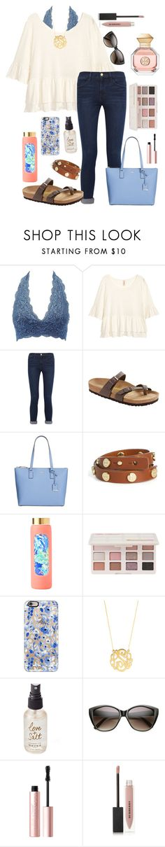 """Tag in d"" by lbkatie17 ❤ liked on Polyvore featuring Charlotte Russe, H&M, Frame, Birkenstock, Kate Spade, Tory Burch, Lilly Pulitzer, Too Faced Cosmetics, Casetify and BaubleBar"