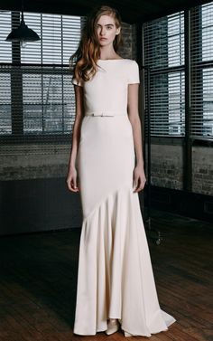 Scoop-Back Tailor Bow Gown by Katie Ermilio