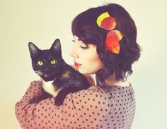 Girl with Cat - LOVE her hair