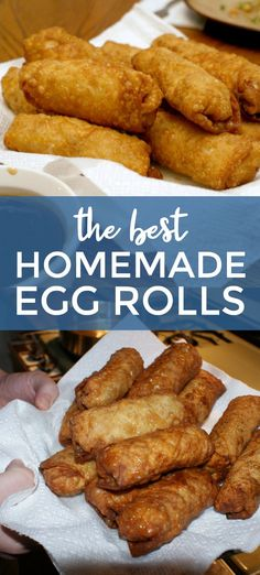 These are the BEST Homemade Egg Rolls made with seasoned ground pork and fresh vegetables tightly rolled up in egg roll wrappers, then fried to crispy delicious perfection. asian recipes The Best Homemade Egg Rolls Egg Roll Recipes, Pork Recipes, Cooking Recipes, Easy Egg Roll Recipe, Asian Recipes, Recipes With Egg Roll Wrappers, Eggroll Wrapper Recipes, Easy Chinese Food Recipes, Recipies