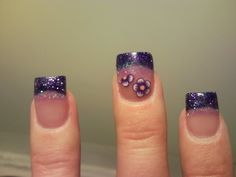 My own pic and nails. Fimo clay nail art inlaid in pink acrylic.  Two diff colors of purple glitter.