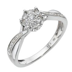 a quarter diamond wedding ring cluster - Google Search