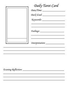 Daily tarot card journal template