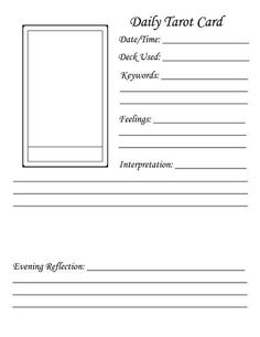Daily tarot card journal template