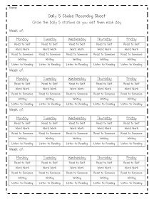 Fantastic First: Daily 5 Shares- daily 5 activity recording sheet