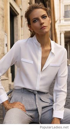fashion-and-classy-grey-pants-and-white-blouse-for-office