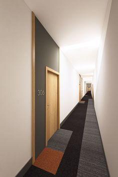 Crave ID. Queens Dock. Apartment corridor: