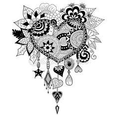 Corazón forma floral atrapasueños para colorear libro para adulto — Stock…