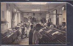 Escuelas Salesianas de Sarrià. Postal Taller de cajistas.