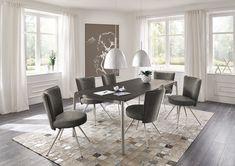 Diese Stühle von Venjakob gibt es in Stoff- oder Leder-Bezügen. Optional gibt es die praktische 360-Grad-Dreh- und automatischer Rückholfunktion. 360 Grad, Dining Table, Furniture, Blog, Home Decor, Family Dining Rooms, Dining Rooms, Classic Living Room, Living Area
