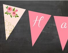 Floral chic Pink or Pink and Green Pennant Banner Happy Birthday Printable  This printable Happy Birthday banner is PERFECT for a pink floral chic BIRTHDAY PARTY!