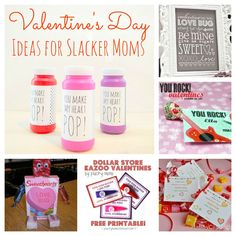 Six Easy Valentine's For Slacker Moms - free printables, card ideas for classroom exchange and more