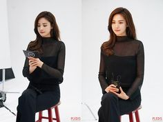 Im Jin Ah Nana, Asian Girl, High Neck Dress, Turtle Neck, Celebrities, Sweaters, Black, Dresses, Girls