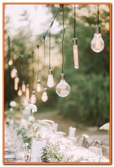 Today we're talking about Edison bulb wedding decoration ideas. Edison bulb lighting can keep a wedding reception going into the wee hours of the morning. Lilac Wedding, Summer Wedding, Diy Wedding, Wedding Bouquets, Wedding Flowers, Wedding Pins, Wedding Ideas, Outdoor Wedding Reception, Reception Party