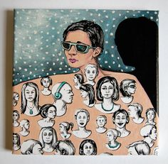 Don Juan Sběrač trofejí a jeho stín koláž xerokopií vlastní kresby, kresba kvalitní světlostálou tuší, malba akrylem, kresba tužkou plátno napnuté na rámu rozměry 20 x 20 cm obraz není třeba rámovat