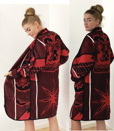 Blanket Coat, Clothing Co, Custom Made, African, Coats, Cape Town, Unique, Red, Gender
