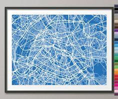 Paris France City Street Map Art Print 77 Custom by artPause