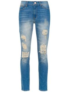 Shop Side Striped Tape Ripped Jeans online. SheIn offers Side ... 780a24a1efeb6