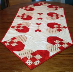 Valentine 9-patch heart quilted table runner by Kelly Gaidies for sale on www.quiltsforsale.ca