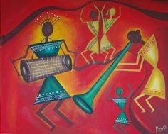 Warli music celebration  pepupstreet.com, #artstory, #handmade, #warli, #artwork, #walldecor