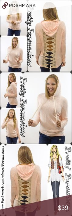 """Contrast Brushed Hacci Crochet Lace Slub Hoodie NWT Contrast Brushed Hacci Crochet Lace Slub Hoodie  Available in S, M, L Measurements taken from a size small  Length: 28"""" Bust: 46"""" Waist: 44""""  Features • ribbed, contrast long sleeves • open back w/crochet lace detail • super soft brushed hacci slub fabric • drawstring hood • loose fit • light, breathable light pink/peach & cream material w/stretch  Rayon blend  Bundle discounts available  No pp or trades  Item # 1/209160390PCHS marled knit…"""