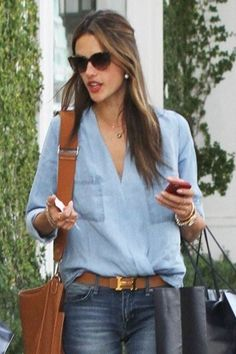 Sam & Lavi Chambray Blouse as seen on Alessandra Ambrosio