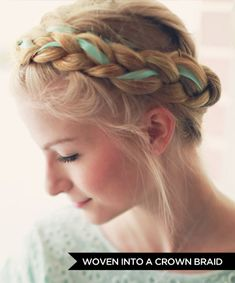 Ways to Wear Hair Ribbons -- Woven Into a Crown Braid