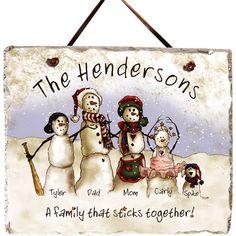 Personalized Snowmen Stick Family Slate
