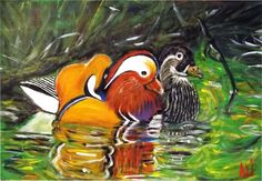 """Wood Ducks"" Hand-painted By: Alida Martinez Urraca -Ali-  http://hacedoradeilusiones.blogspot.com/"