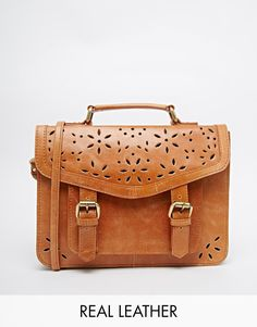 Asos Leather Satchel Bag With Cut Out Detail Outlet