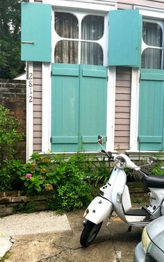 Turquoise shutters >> I would Love these windows and shutters, so wonderful!