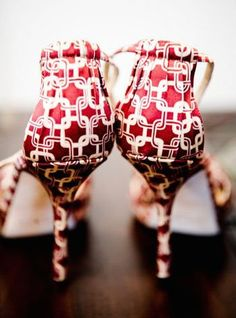 red patterned stilettos