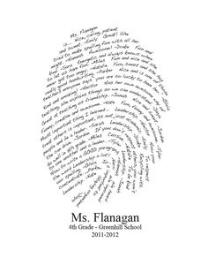 Personalized Teacher Gift Fingerprint Design  You by myloveydove