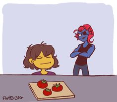 Undertale, Undyne and Frisk cooking