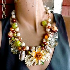 Soft in Winter.... floral statement necklace from by bendywho