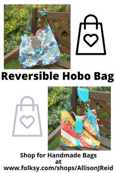 Two bags in one! Roomy, reversible Hobo Bag. Soft and secure with two zipper pockets and metal swivel hook closure. Soft Layers, Pouch Pattern, Hobo Style, Retro Fabric, Blue Roses, Quilted Bag, Handmade Bags, Hobo Bag, Bag Making