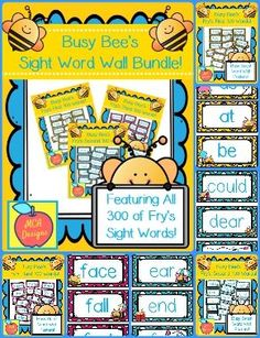 This bundle features all 300 of Fry's sight words! 114 pages of brightly colored word wall posters to brighten your classroom! Each poster is accented with sweet bees! Reading Resources, School Resources, Teacher Resources, Sight Word Wall, Sight Words, Literacy Stations, Literacy Centers, Wall Posters, Reading Intervention