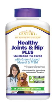 Healthy Joints & Hip™ Plus Glucosamine HCL 500mg for Dogs- 21st Century Pet Health $19.99 http://www.21stcenturypet.com/product-dog.asp?i=1024=2