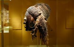 Female (pwo) mask, Chokwe peoples, Democratic Republic of Congo, early 20th century, wood, plant fiber, pigment, copper alloy, 39.1 cm high (Smithsonian National Museum of African Art)