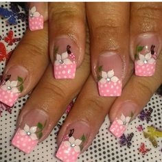 Vɩѵɩaŋa Toe Designs, Pink Nail Designs, Hair And Nails, My Nails, Nail Pops, Polka Dot Nails, French Tip Nails, Finger, Christmas Nail Art