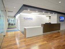 Fleming Architects with Studio by 3form textural wall covering Profile Pleat. Law Office Design, Office Reception Design, Medical Office Design, Pharmacy Design, Corporate Office Design, Modern Office Design, Dental Office Decor, Showroom Interior Design, Hospital Design
