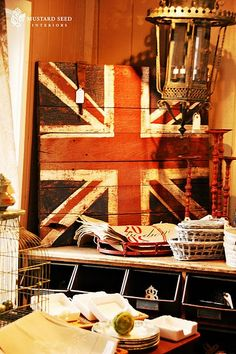 union jack sign - try in different colors? pink orange and white? lovely - sunrise room.