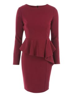 Cranberry Peplum Frill Dress | Jane Norman
